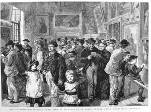 The Graphic, November 12th 1884. This is one of my favourite images of the Whitechapel Fine Art Exhibition; from the fathers with their children to the elderly couple and people busy reading the exhibition catalogue.