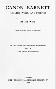 Figure three: Front piece of Henrietta Barnett, Canon Barnett: His Life, Work and Friends (London; 1918), volume one.