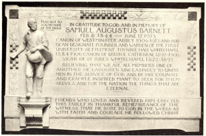 Figure One: This memorial stone can still be found on the north wall of the south aisle of the choir of Westminster Abbey from Henrietta Barnett, Canon Barnett: His Life, Work and Friends (London; 1921), p.782.