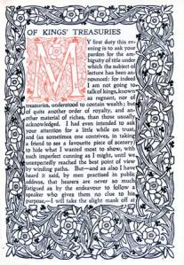 Front piece of Ruskin's chapter 'Of Kings' Treasuries'
