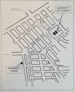 Map of Spott showing where Cardiff University Settlement was based from B. M. Bull, 'The University Settlement in Cardiff', (Cardiff; School of Printing, 1965)