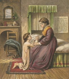 Boy praying with his mother